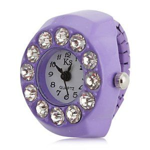 Tanboo Women's Big Diamond Style Alloy Analog Quartz Ring Watch (Purple) by Tanboo. $4.99. Casual Watches. Women's Watche. Ring Watches. Gender:Women'sMovement:QuartzDisplay:AnalogStyle:Ring WatchesType:Casual WatchesBand Material:AlloyBand Color:PurpleCase Diameter Approx (cm):2.4Case Thickness Approx (cm):0.8Band Length Approx (cm):8.8Band Width Approx (cm):0.7