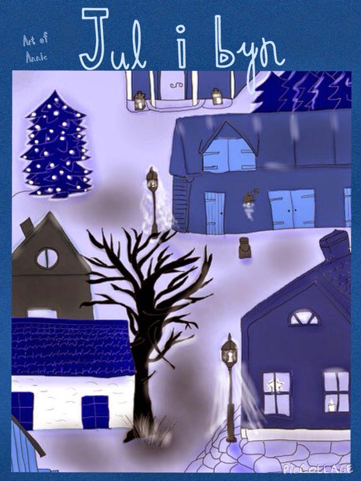 Art of Annie: Testar att göra julkort...jul i byn
