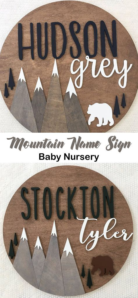 Round Rustic Name Sign Mountain Wood Name Sign Woodland