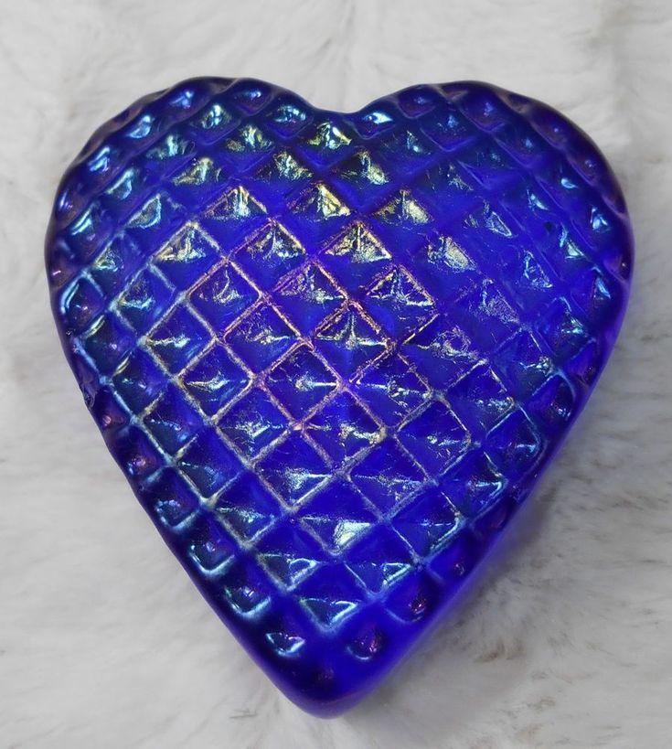 SIGNED Art Glass PAPERWEIGHT HEART Iridescent Waffled Cobalt Blue ROBERT HELD | eBay