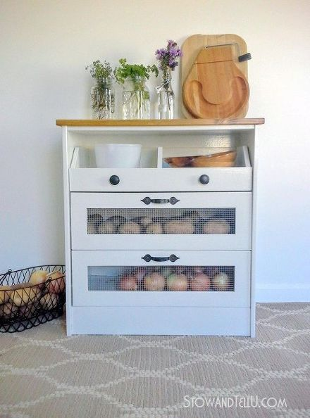 potato bin ikea hack, diy, kitchen design, painted furniture, rustic furniture, storage ideas