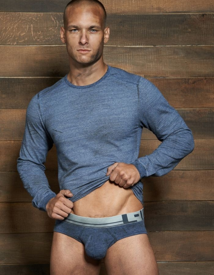 """Filthy Long Sleeve Crew Neck by C-IN2 in Denim Indigo: When comparing """"squeaky clean"""" to """"filthy dirty,"""" one is definitely more sexy!     #CIN2 #CrewNeck #Longsleeve #Tshirt"""