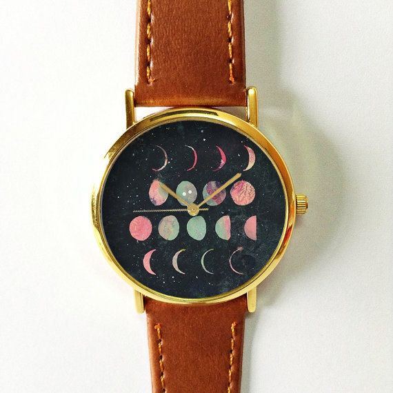Moon Phases Watch, Vintage Style Leather Watch, Women Watches, Boyfriend Watch, World Map, Men's Watch,  Astronomy , Galaxy,