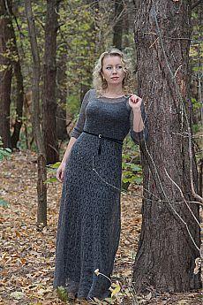 """Платье """" Лесная нимфа"""" - серый,однотонный,ажурное платье,паутинка,кид-мохер"""