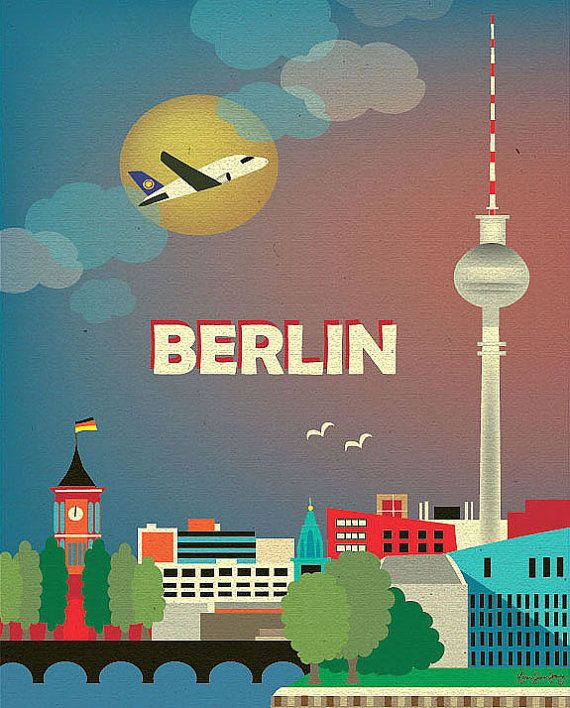 berlin skyline art print berlin poster berlin city map germany travel poster berlin wall. Black Bedroom Furniture Sets. Home Design Ideas
