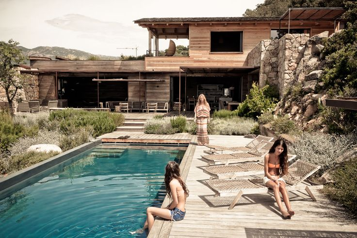 Stone and wood house in Corsica, via Milk magazine.