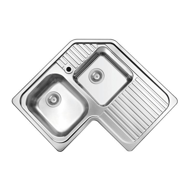 Lavello da incasso Angolare 2 vasche + gocciolatoio dx