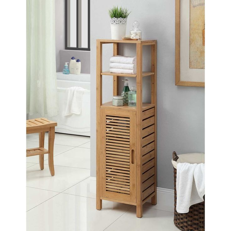 Kitchen Hallway Bedroom VIAGDO Bathroom Storage Cabinets with Doors and 3 Side Shelves Bamboo Floor Cabinet Utility Storage Shelves for Living Room Free Standing Storage Cabinet Furniture