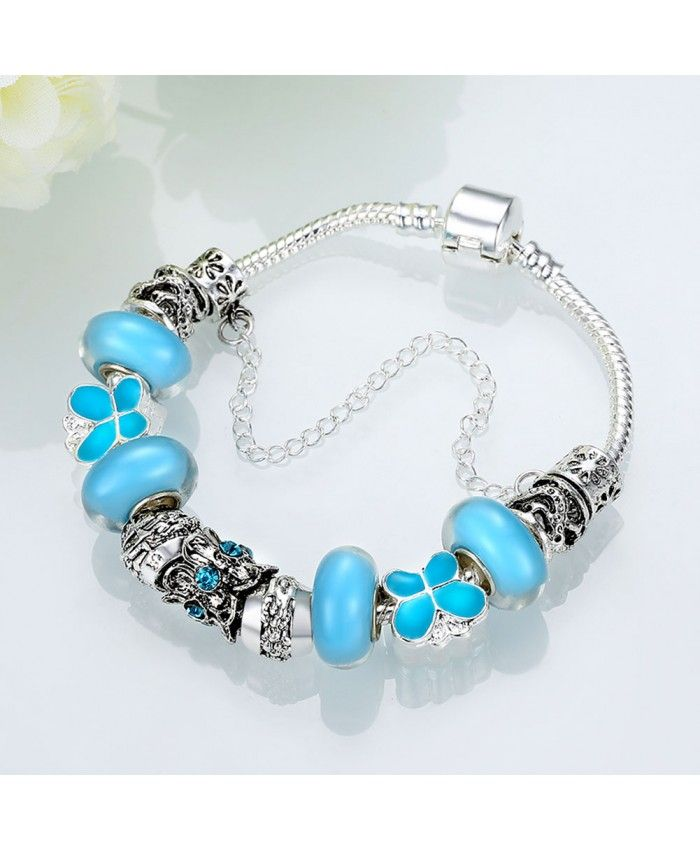 New Fashion Blue Glass Beads and Crystal Charms DIY Bracelet