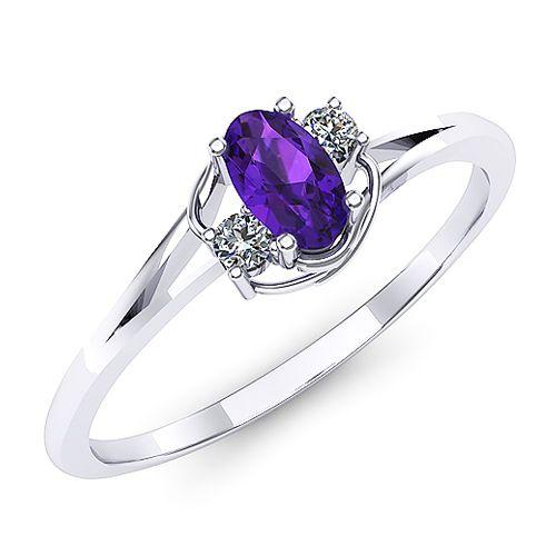 Inel de logodna cu ametist oval si doua diamante