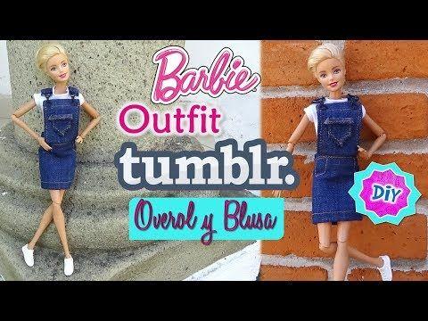 f8c679b3cd0d ROPA para MUÑECAS Barbie Estilo TUMBLR // BLUSA y OVEROL de ...