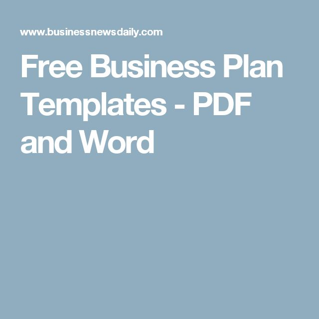 Free Business Plan Templates - PDF and Word