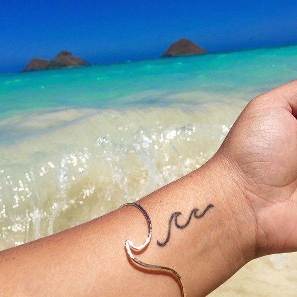 Wave Tattoo Design on Wrist