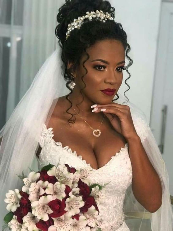 26 Beautiful Hairstyles For The African American Bride -   Black brides hairstyles, Natural hair bride, Curly bridal hair