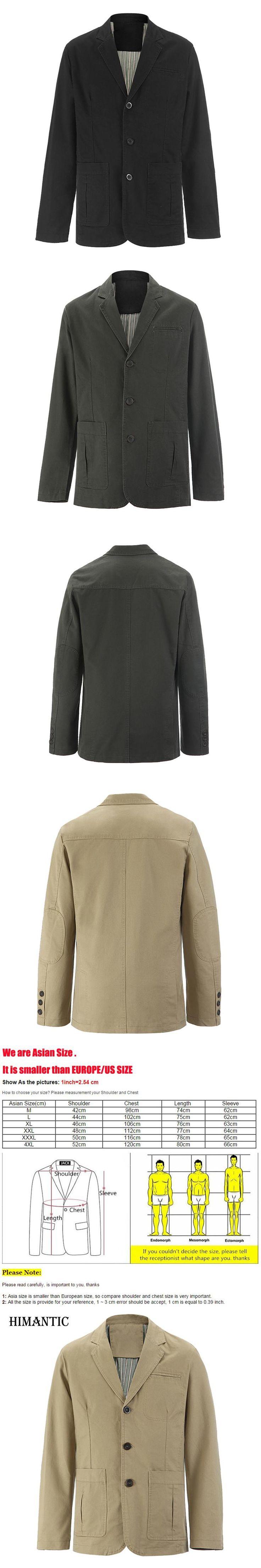 Brand New blazer men Casual Blazer Cotton Denim Parka Men's slim fit Jackets Army Green Khaki Large Size M - XXXL 4XL Coat
