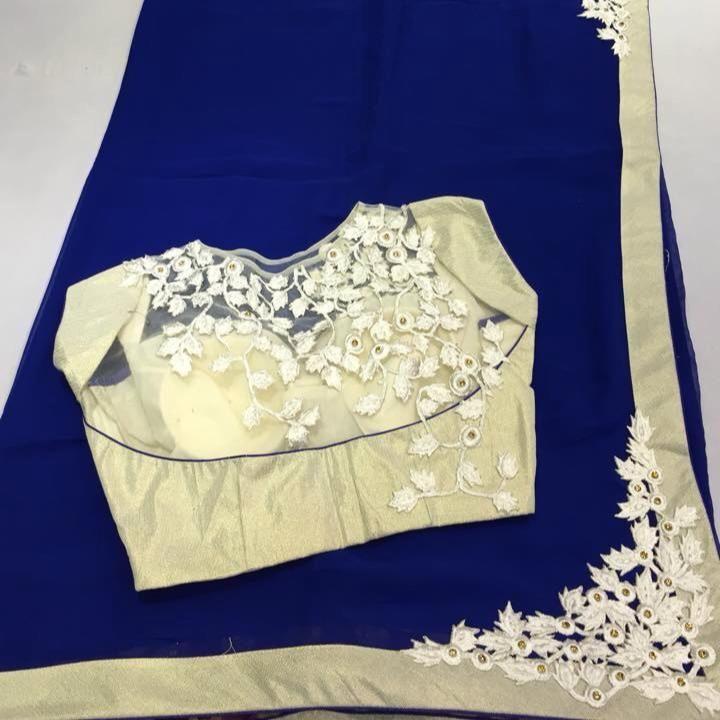 Mungalal Sarees ,Koti ,Hyderabad Ink blue Saree with designer blouse !