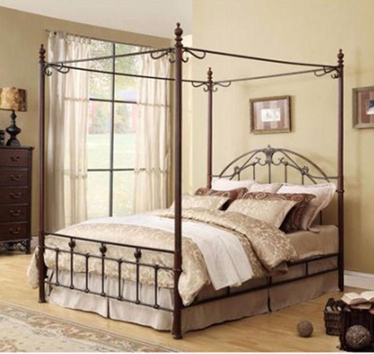 Metal Canopy Bed Frame Queen Size Antique Bronze Finish Headboard Footboard Rail & Best 25+ Canopy bed frame ideas on Pinterest | Canopy for bed 4 ...
