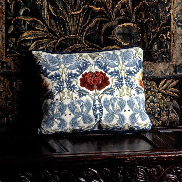 Inspired by William Morris' beautiful triple weave fabric, Tulip & Rose makes a striking design for a cushion, chair seat or stool top. Beth Russell's interpretation, seen here on the ivory background, may also be stitched with a contrasting dark blue background.