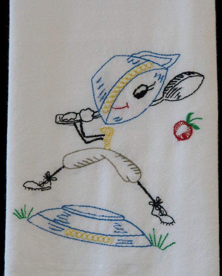 Embroidered Vintage Kitchen Days Of The Week Flour Sack Towels Vintage And Antique Linens