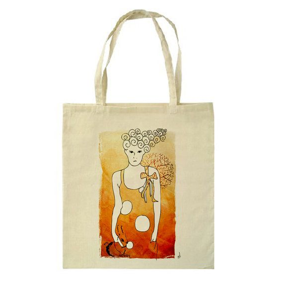Unhappy Girl Watercolor Tote Bag by HappyMarker on Etsy