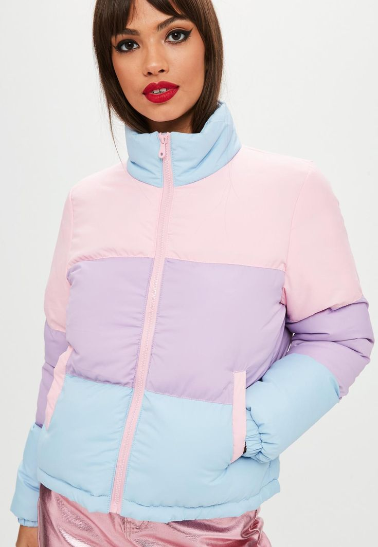 Colour bloc padded jacket with high neck, pockets and zipped front fastening.