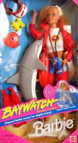 Barbie Baywatch Favorite TV Show : Lifeguard Barbie rescues her dolphin friend! Had this one too. She was a favorite!