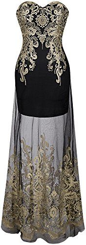Angelfashions Womens Sweetheart Floral Embroidery Transparent Long Cocktail Dress Medium * Visit the image link more details. (This is an affiliate link) #OutfitIdeas