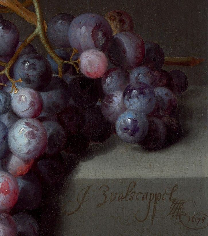 ".:.""Still Life with Fruit"" (details"", 1675, Jacob van Walscapelle."