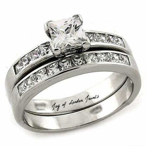 A Perfect 1.2CT Princess Cut Russian Lab Diamond Channel Set Wedding Ring Bridal Set - Joy of London Jewels