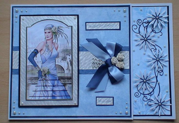 A 21st Birthday card made using Debbie Moore art deco topper, ribbon, die cuts and flowers to embellish