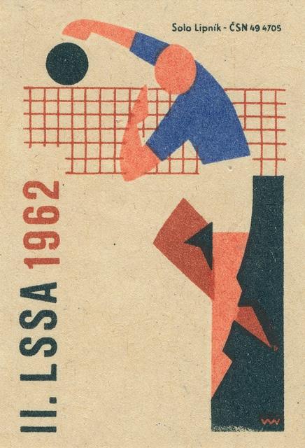 czechoslovakian matchbox label - volleyball