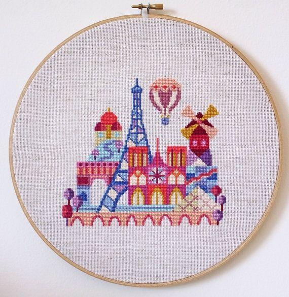 Pretty Little Paris Modern Cross stitch by SatsumaStreet on Etsy by jojablueberry