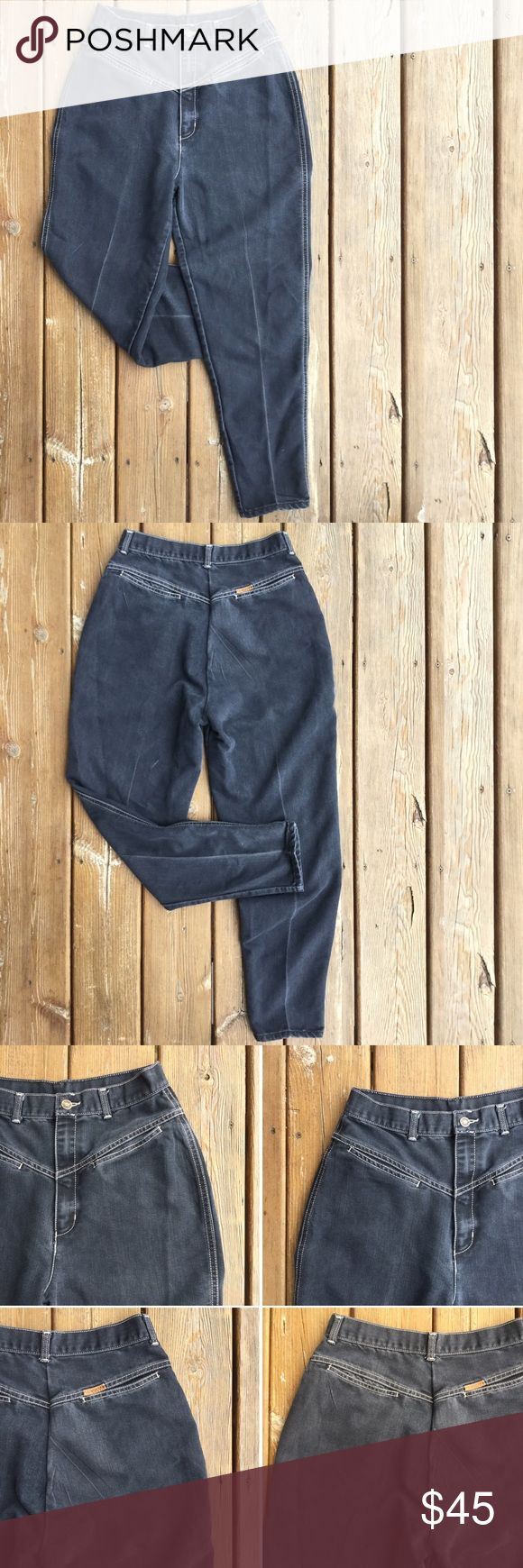 """GITANO '80's Ultra High-Waist Jeans Another great find! Authentic 80's Gitano ultra high-waisted jeans w/tapered legs. Faded black w/contrast stitching. Welt pockets back & front. Fading at seams, creases & wrinkles adds to the character and authenticity. Zip fly.  App. Meas. - Waist: 13.5"""" side to side; Hips: 21"""" side to side at bottom of fly level; Front Rise: 13.5""""; Back Rise: 16.25""""; Inseam: 28""""; Leg opening at hem: 6"""" from side to side Content: 41.5% Cot/28% Ray/30.5% Poly; Sz: 14…"""