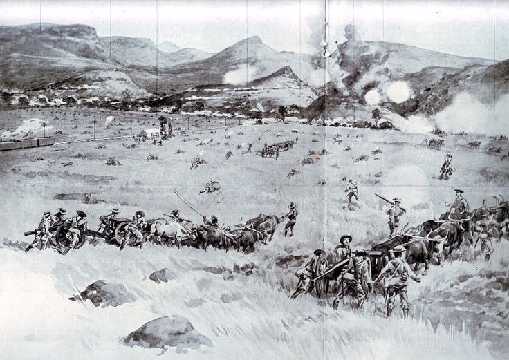 Royal Navy 12 pounder field guns advancing at the Battle of Colenso on 15th December 1899 during the Boer War