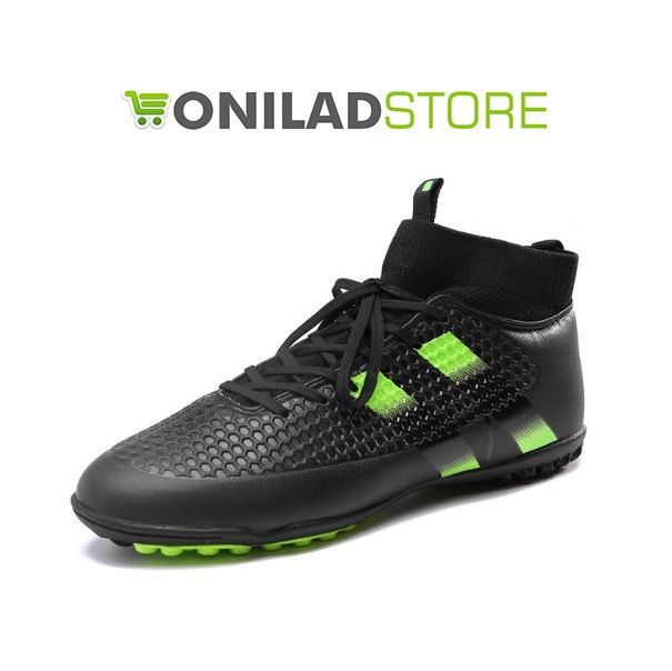 Thestron Mens Turf Soccer Shoes Green/Black Sock Football Boots Men  Non-Slip Turf Shoes For Soccer Black Mens Soccer Boots Ankle