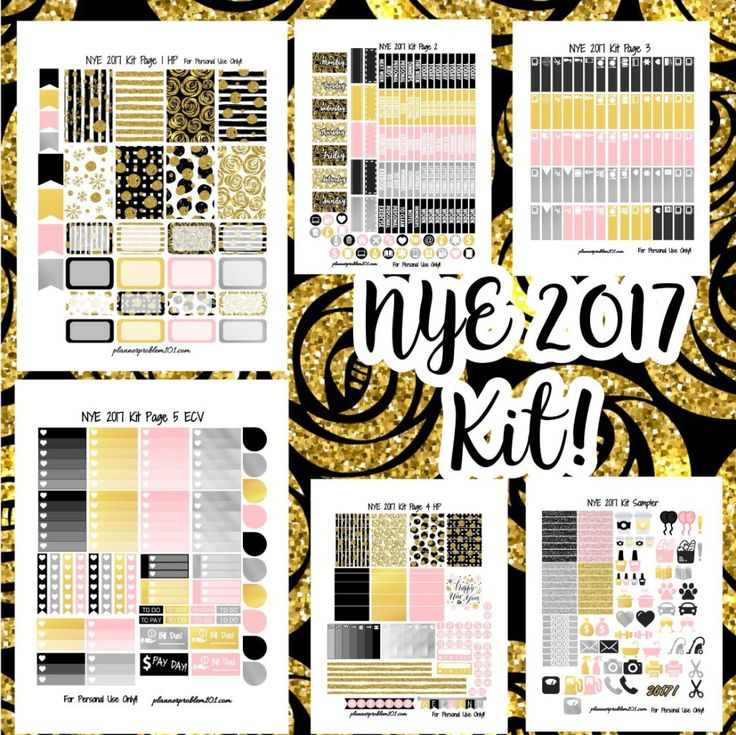 New Year's 2017 KIT! | Free Printable Planner Stickers
