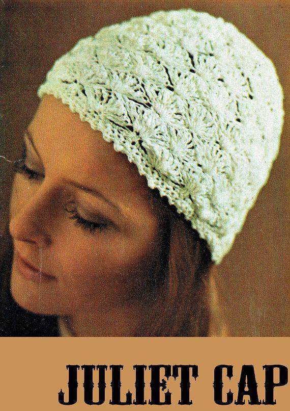 PDF Vintage 1970s Womens Ladies Crochet Pattern Juliet Cap Hat