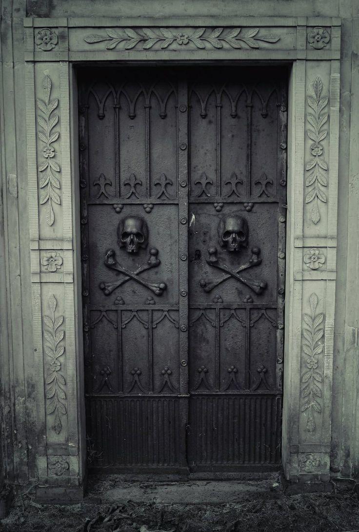 Skull and bones cemetery doors