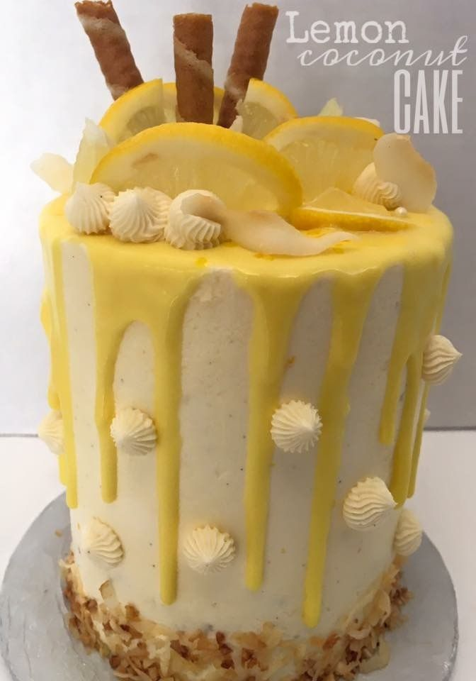 Lemon Coconut Drip Cake With Images Cake Drip Cakes
