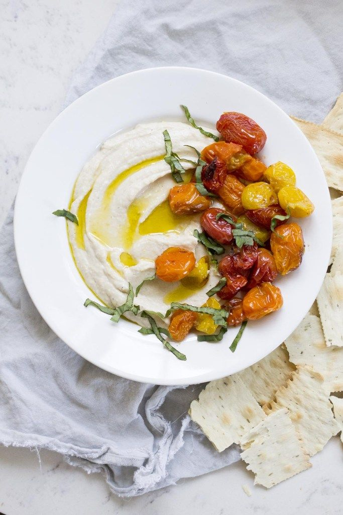 Ricotta White Bean Dip with Roasted Tomatoes - makes a healthy and delicious appetizer or snack!