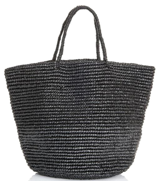 Maxi straw tote by Sensi Studio. Large black hand woven rope open top two top handle tote bag. Material: Hand woven straw. #Matchesfashion