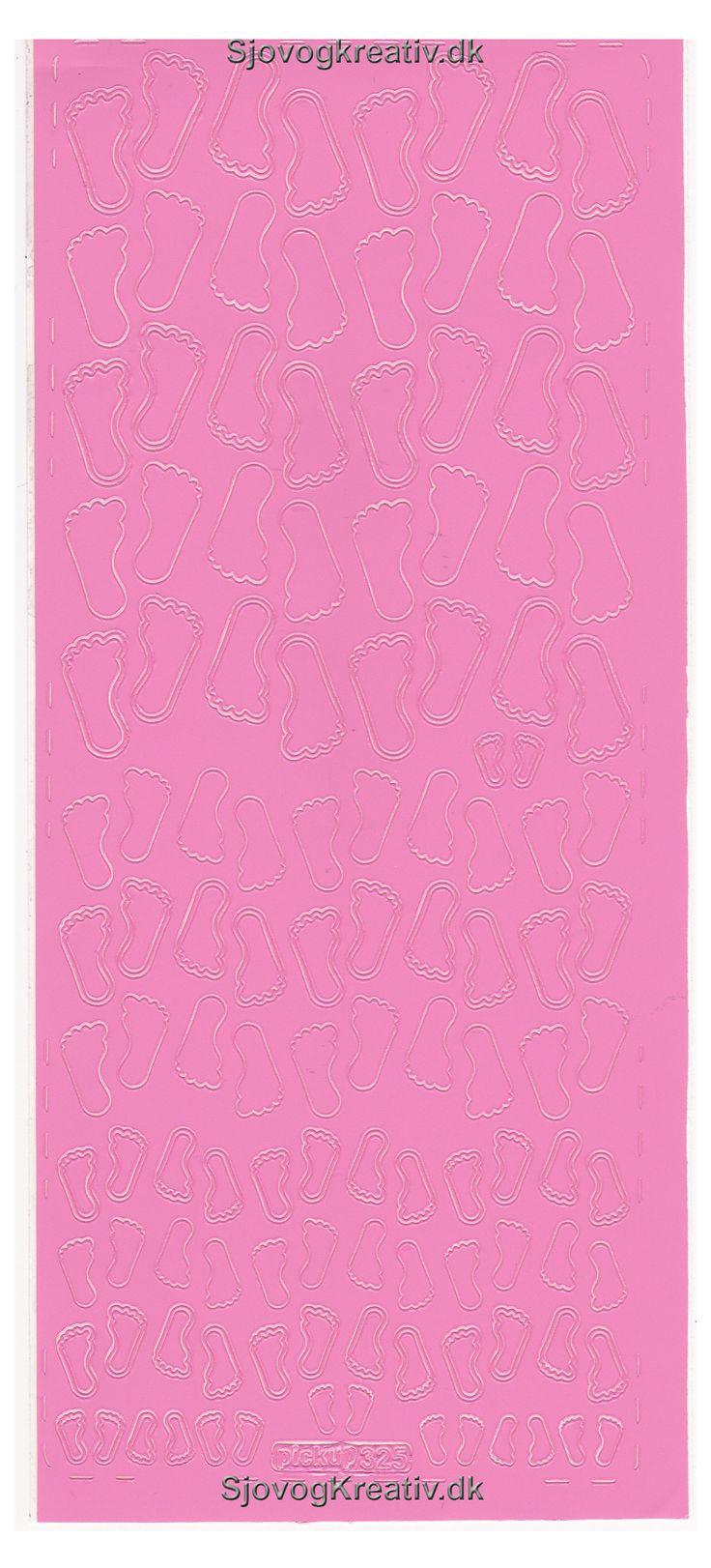 Stickers ark med små lyserøde baby fødder til lav selv kort, takkekort bordkort, sange og scrapbog til barnedåben fra sjovogkreativ.dk