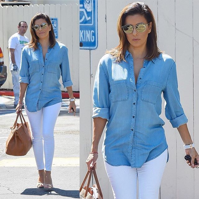 Love a denim look! Wearing my Eva Longoria Collection Chambray Shirt and Power Sculpt Jeans! #EvaForTheLimited