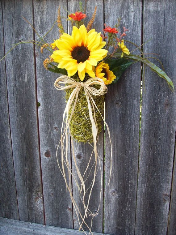 Pew decoration sunflower bows fall wedding by