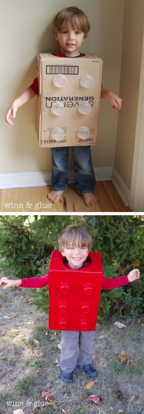 Super easy and cheap DIY Lego Costume. Such a cute idea! 30 Easy Halloween Costu…