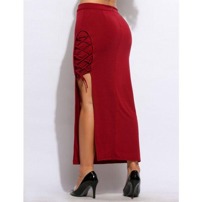 Jupe rouge mi longue fendue à lacets sur le côté - bestyle29.com