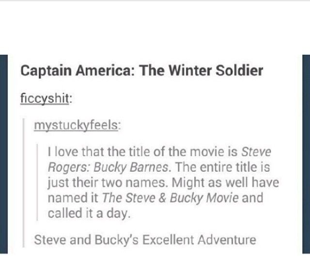 Captain America (Steve Rogers) and the Winter Soldier (Bucky Barnes) never really thought about that tbh