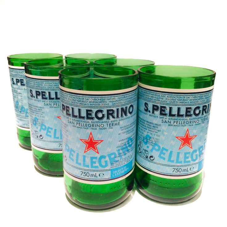 San Pell Tumblers [Set of 6] from TWICE DRUNK. S.Pellegrino's green glass bottle - with its unique silhouette, has always been sophisticated and elegant, traditional yet modern. And it's familiar green bottle, bearing a blue label and red star, has become synonymous with the white linen of the fine dining experience. Available to buy now at www.TwiceDrunk.com.