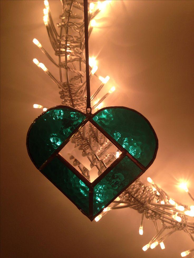 Stained glass heart suncatcher - copper foil