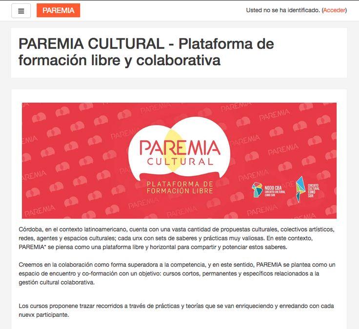 PAREMIA es un EVEA libre, abierto y colaborativo impulsado por la red Nodo Cultural Córdoba como herramienta de formación, intercambio y co-creación hacia culturas colaborativas.